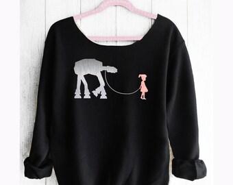 STAR WARS. Princess Lea sweatshirt. Disneyland Star Wars Off shoulder sweatshirt. Disney sweatshirt. Made by Pink Lemonade Apparel.
