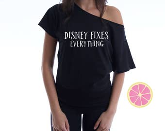 Disney Fixes Everything villain  off shoulder T-shirt. Boat neck t-shirt made by Pink Leomonade apparel