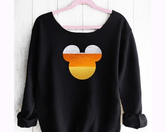 MICKEY HALLOWEEN CANDYCORN Off shoulder sweatshirt. Mickey Sweatshirt. Disney sweater. Disney halloween. Made by Pinklemonadeapparel
