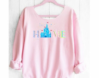 Home Off shoulder sweatshirt. Cinderella Castle sweatshirt. Disney sweater . Mickey sweater Made by Pink lemonade apparel.