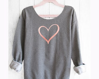 Heart sweatshirt. Valentines sweater. Off shoulder sweatshirt. Heart sweater. Friendship sweater.  Made by Pink lemonade apparel.