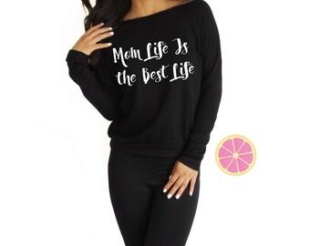 Mom life is the best life Off shoulder Eco Fleece.  Eco Fleece.Pink Lemonade Pullover. Light Weight sweatshirt. Made by Pinklemonade.net