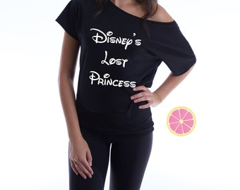 Disney's lost princess  off shoulder T-shirt. Boat neck t-shirt made by Pink Leomonade apparel