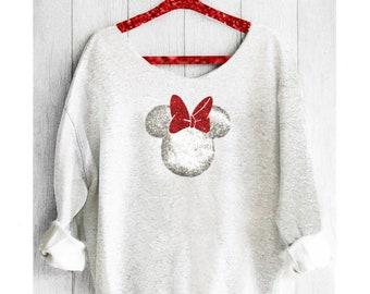 Minnie Mouse. Minnie Off shoulder sweatshirt. Off shoulder sweatshirt. Minnie sweatshirt. Disney sweater. Pink lemonade apparel.