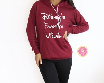 Disney's Favorite Villain  Hoodie.Pink Lemonade Charcoal  Hoodie. Light Weight Hoodie. Made by Pinklemonade.net
