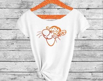 TIGGER.Tigger T-Shirt. Disney shirt. Off-the-shoulder T-Shirt. Winnie shirt. Off shoulder t-shirt. Tigger shirt. Pink Lemonade Apparel