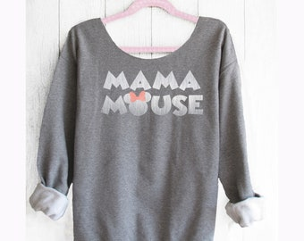 Mama Mouse. Mama Mouse Off shoulder sweatshirt.  Minnie sweater. Disney sweatshirt . Theme park shirts. Pink lemonade apparel.