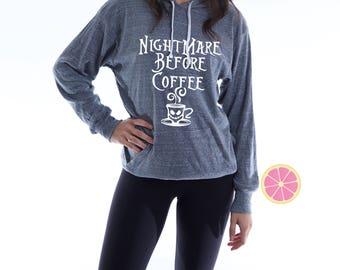 Nightmare Before Coffee Hoodie.Pink Lemonade Hoodie. Light Weight Hoodie. Made by Pinklemonade.net