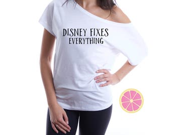 Disney Fixes Everything. Off shoulder T-shirt. Boat neck t-shirt. Disney t-shirt.  Disney shirt. Theme park shirt. By Pink Lemonade Apparel