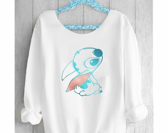 STITCH. Stitch Sweatshirt. Disney Off shoulder sweatshirt. Disney sweatshirt. Disney sweater. Stitch Disney. Pink lemonade apparel.