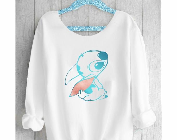Featured listing image: STITCH. Stitch Sweatshirt. Disney Off shoulder sweatshirt. Disney sweatshirt. Disney sweater. Stitch Disney. Pink lemonade apparel.