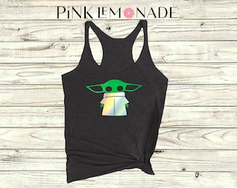 Baby Yoda. Star Wars. Yoda Tank top. Baby Yoda tank top. Disneyland Star Wars. Disney Tank top. Women's racerback. Pink Lemonade Apparel
