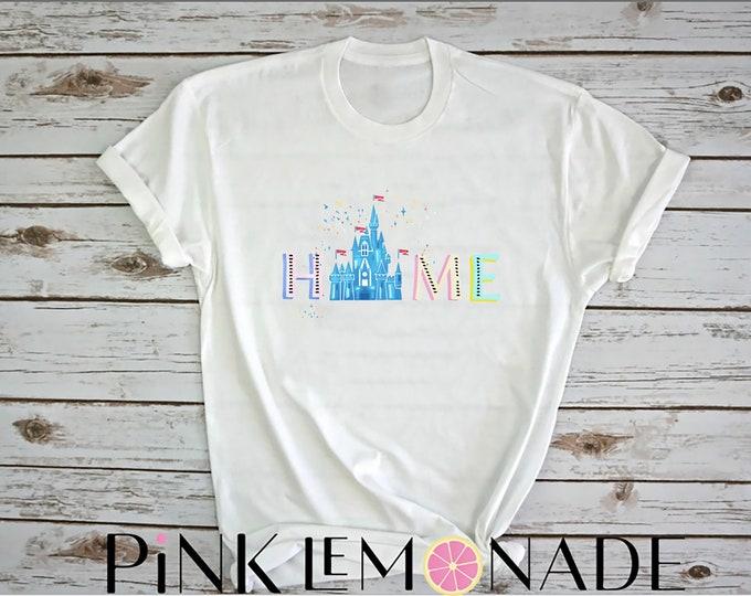 Featured listing image: Home T-shirt Disney shirt- Womens Disney Shirt. Disney Castle shirt. made by Pink Lemonade Apparel