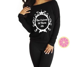 The fairest of them all Disney Off shoulder Eco Fleece.Pink Lemonade Pullover. Light Weight sweatshirt. Made by Pinklemonade.net