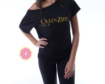 Queen Bee off shoulder T-shirt. Boat neck t-shirt made by Pink Leomonade apparel