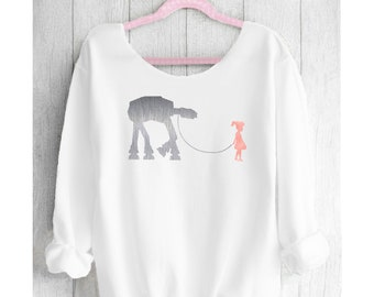 STAR WARS. Princess Lea sweatshirt. Disneyland Star Wars Off shoulder sweatshirt. Disney sweatshirt. Made by Pink Lemonade Apparel.