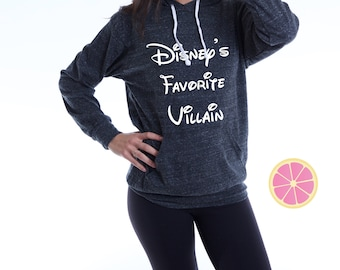 Disney's Favorite Villain  Hoodie.Pink Lemonade Charcoal  Hoodie. Light Weight Hoodie. Made by Pinklemonade.net
