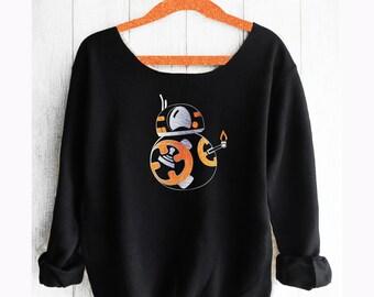 BB8.Star Wars. BB8 sweatshirt. Mandalorian. Off shoulder sweatshirt. BB8 shirt. Star Wars shirt. PinkLemonadeApparel.