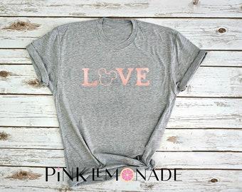 Love mickey t-shirt. mickey shirt. Theme park shirt. Womens T-shirt. made by Pink Lemonade Apparel