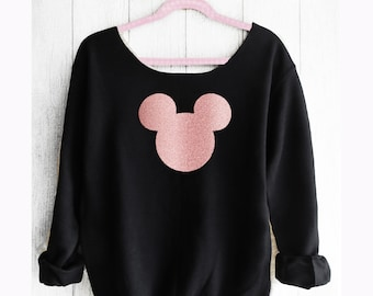 Mickey Off shoulder sweatshirt. Mickey sweatshirt. Disney sweater . Mickey swaterMade by Pinklemonadeapparel