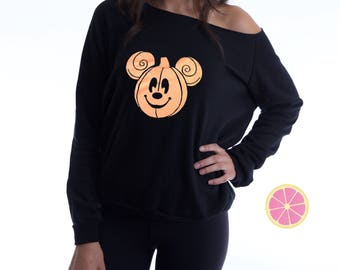 Mickey Halloween Off shoulder Fleece. Mickey Halloween. Off shoulder sweatshirt. Disney Halloween Party.  Made by Pinklemonade.net
