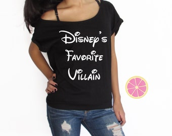 Disney's favorite villain off shoulder T-shirt. Boat neck t-shirt made by Pink Leomonade