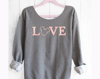 LOVE MICKEY. Mickey Off shoulder sweatshirt. Mickey sweatshirt. Disney sweater . Mickey sweater Made by Pink lemonade apparel.