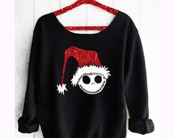 Nightmare before Christmas .Sandy Claws. Off shoulder sweatshirt. Disney sweatshirt. Jack Skellington sweatshirt. Pink Lemonade Apparel.