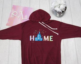 Disney Hoodie.Disney Home  Hoodie. Disney castle Theme Park inspired  Light Weight Hoodie. Made by Pinklemonade.net