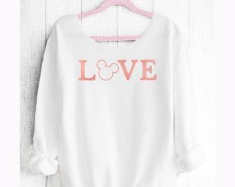 LOVE MICKEY. Mickey Off shoulder sweatshirt. Mickey sweatshirt. Disney sweater . Mickey sweater Made by Pink lemonade apparel.