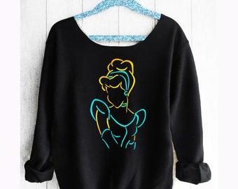 Cinderella.Disney Off shoulder sweatshirt.Cinderella sweatshirt.Princess sweatshirt. Disney sweatshirt Disney sweater.Pink Lemonade Apparel.