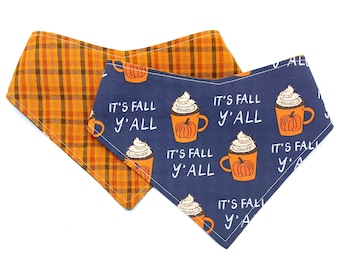 It's Fall Y'all - Pet Bandana - adjustable - reversible - dog bandana - Stitches & Sass - Fall - Autumn - pumpkin spiced latte - PSL bandana