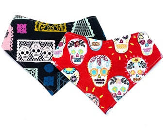 Día de Muertos - Pet Bandana - adjustable - reversible - dog bandana - Stitches & Sass - Day of the Dead - Sugar Skull - Calaveras - Calacas