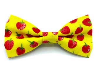 Strawberry Fields - Pet Bow tie- neck tie - dog - cat bow tie - dog bow tie - summer - strawberries - fruit - food - stitches and sass
