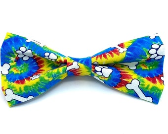 Tie Dye - Pet Bow tie - neck tie - dog - cat bow tie - dog bow tie - hippie - colorful - paw print - bones - stitches and sass - dog print