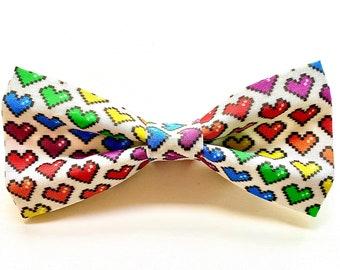 Jinkx Monsoon - Pet Bow tie- neck tie - dog - cat bow tie - dog bow tie - rainbow - drag queen -pride -lgbtq -8 bit heart- stitches and sass