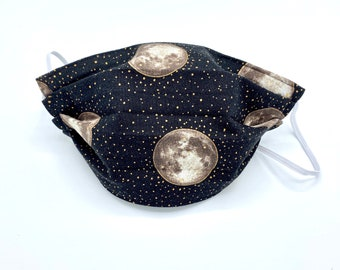 Full Moon - Filter Face Mask - Filter Mask - Washable Mask - Stitches and Sass - Halloween Mask - Spooky Mask - Gold Mask - Moon Mask -