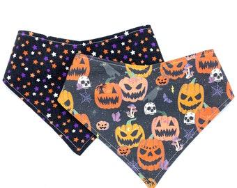 Scary Spice Pumpkin - Pet Bandana - adjustable - reversible - dog bandana - Stitches & Sass - Halloween Bandana - Glow in the Dark Bandana