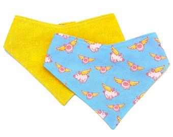 When Pigs Fly - Pet Bandana - Adjustable - Reversible - Dog Bandana - Stitches & Sass - Flying Pig Bandana - Cincinnati Bandana - Pig Scarf