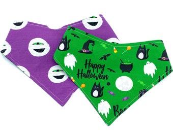 Happy Halloween - Pet Bandana - adjustable - reversible - dog bandana - Stitches & Sass - Halloween Bandana - Mummy - Spooky - Boo - Ghosts