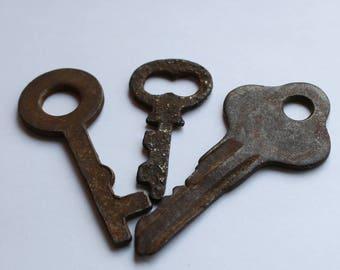 Old Retro Skeleton Antique Key Steampunk Jewelry Rare Vintage Keys Jewellery Door Rustic Key Art Supply  Antique Skeleton Little Key