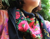 Boho Women Scarf Printed Flowers Accessory With Flower Hippie Colorful Scarf Mothers Day Gift Wool Vintage Russian Shawl Floral Trendy Scarf