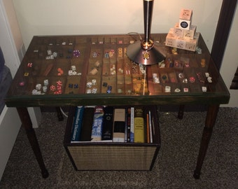 Custom Made Coffee or End Table, Vintage, Original Antique Wooden Printer's Drawer for Type set, repurposed, with Glass Top! Great Display
