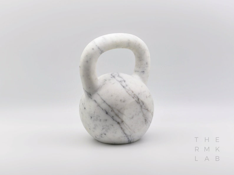Carrara Marble Kettlebell truly one-of-a-kind art piece that image 0