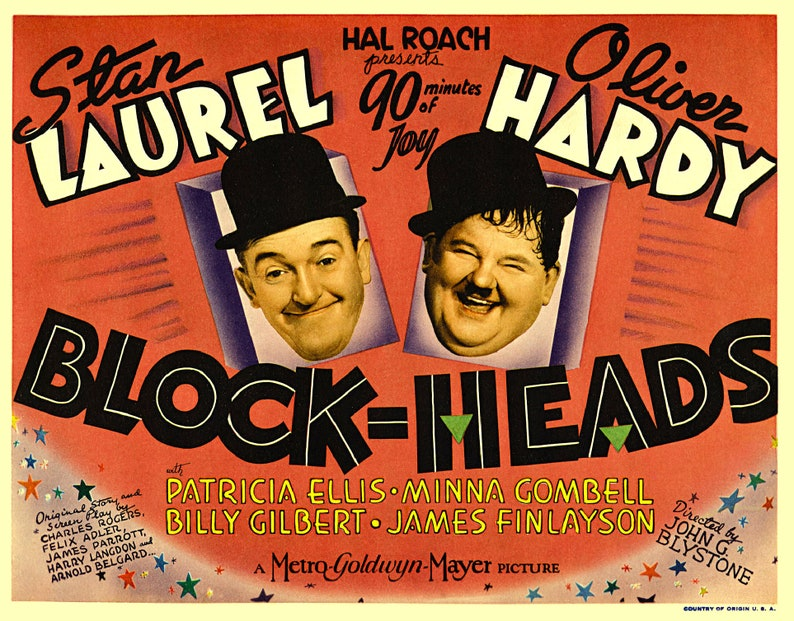 Vintage Film Posters - Stan Laurel -Oliver Hardy - Bargain 2 Prints For the  Price of 1 ! Instant Digital Download To Your Computer