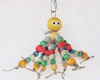 OctoBuddie Bird Toy for Medium to Large Birds / Bird Chew Toy / Colorful Bird Toy / Amazon Parrot Toy / African Grey Toy / Bird Toys