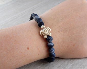 Deep Sea Stone Sea Turtle Bracelet | Sea Turtle Bracelet | Charitable Cause | Beach Bracelet | For Her | For Him | Gift