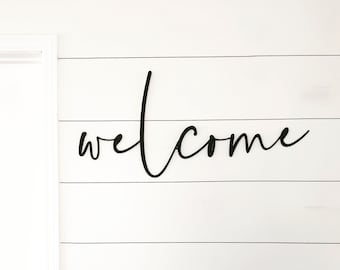 Welcome Script | modern farmhouse decor | entrance decor | patio decor | welcome sign | metal wall decor | metal wall art |