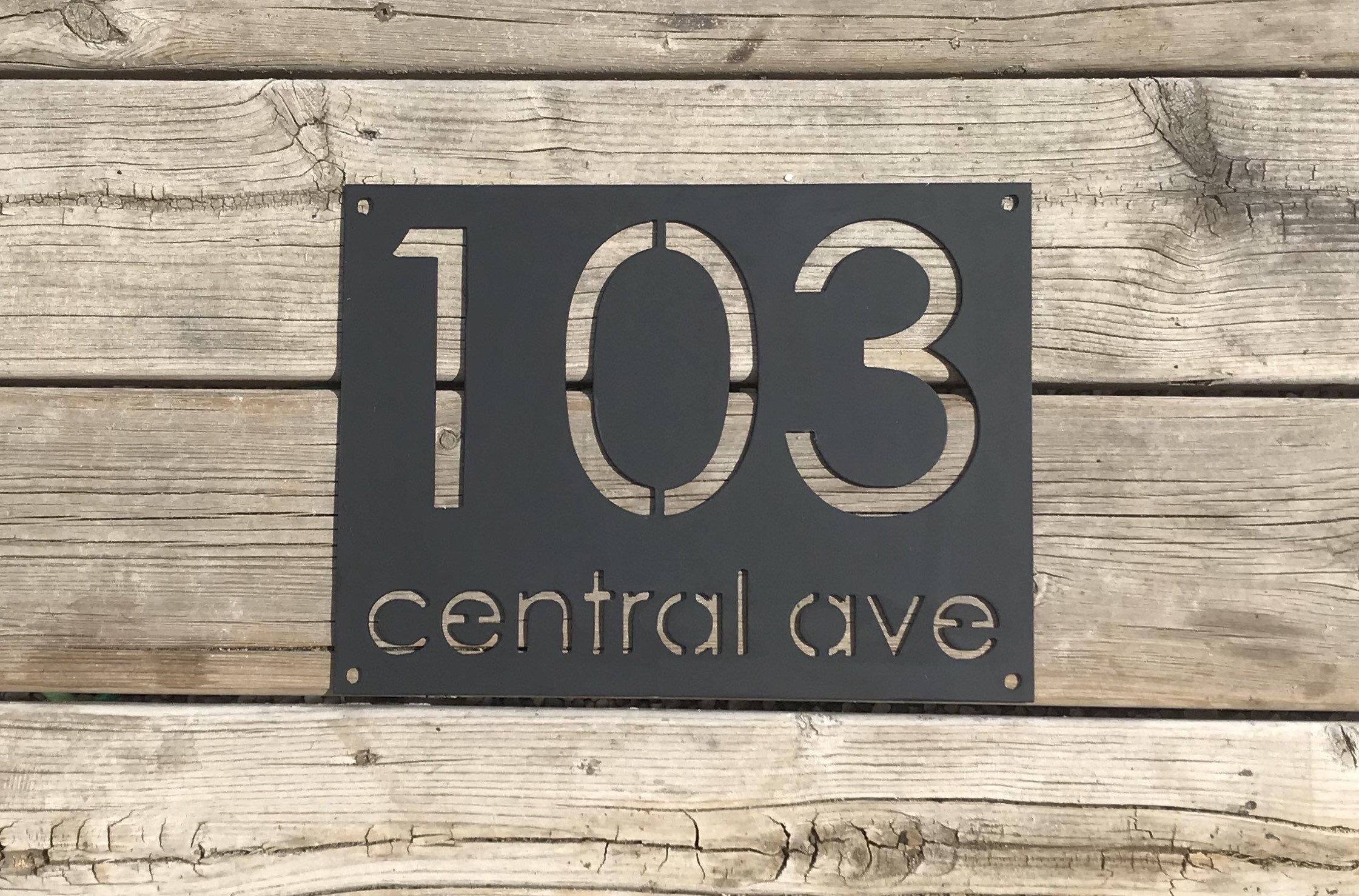 Metal Address Sign House Number Modern Home Minimalist Etsy