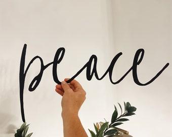 Peace Script | metal sign | minimalist decor | simple holiday decor